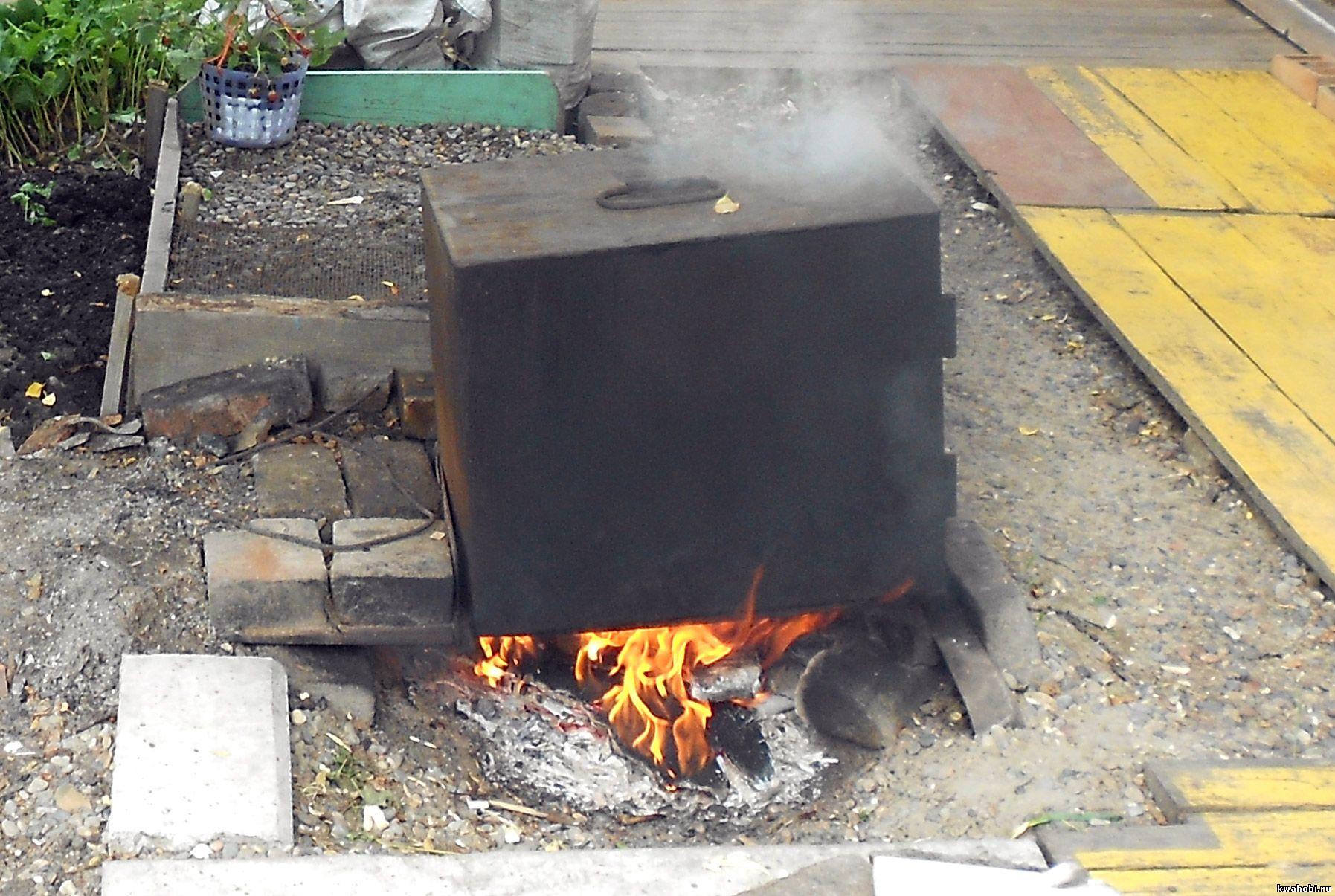 железная печь-коптилка для рыбы, мяса, курицы