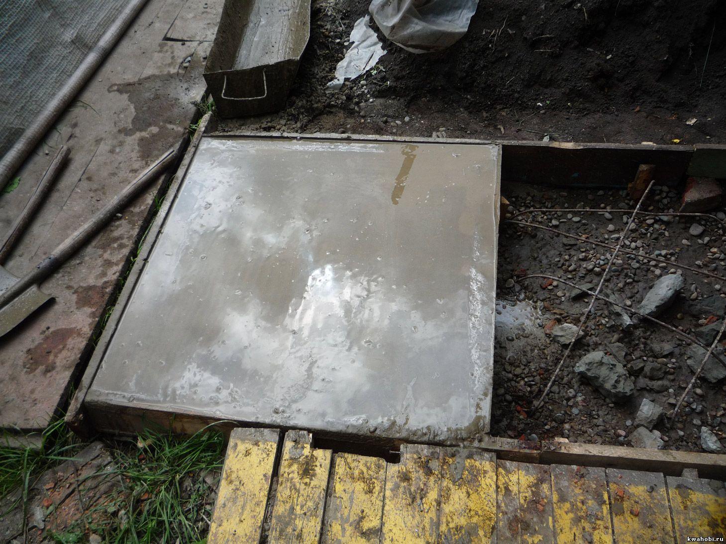 бетонная площадка под печь-мангал-коптилку