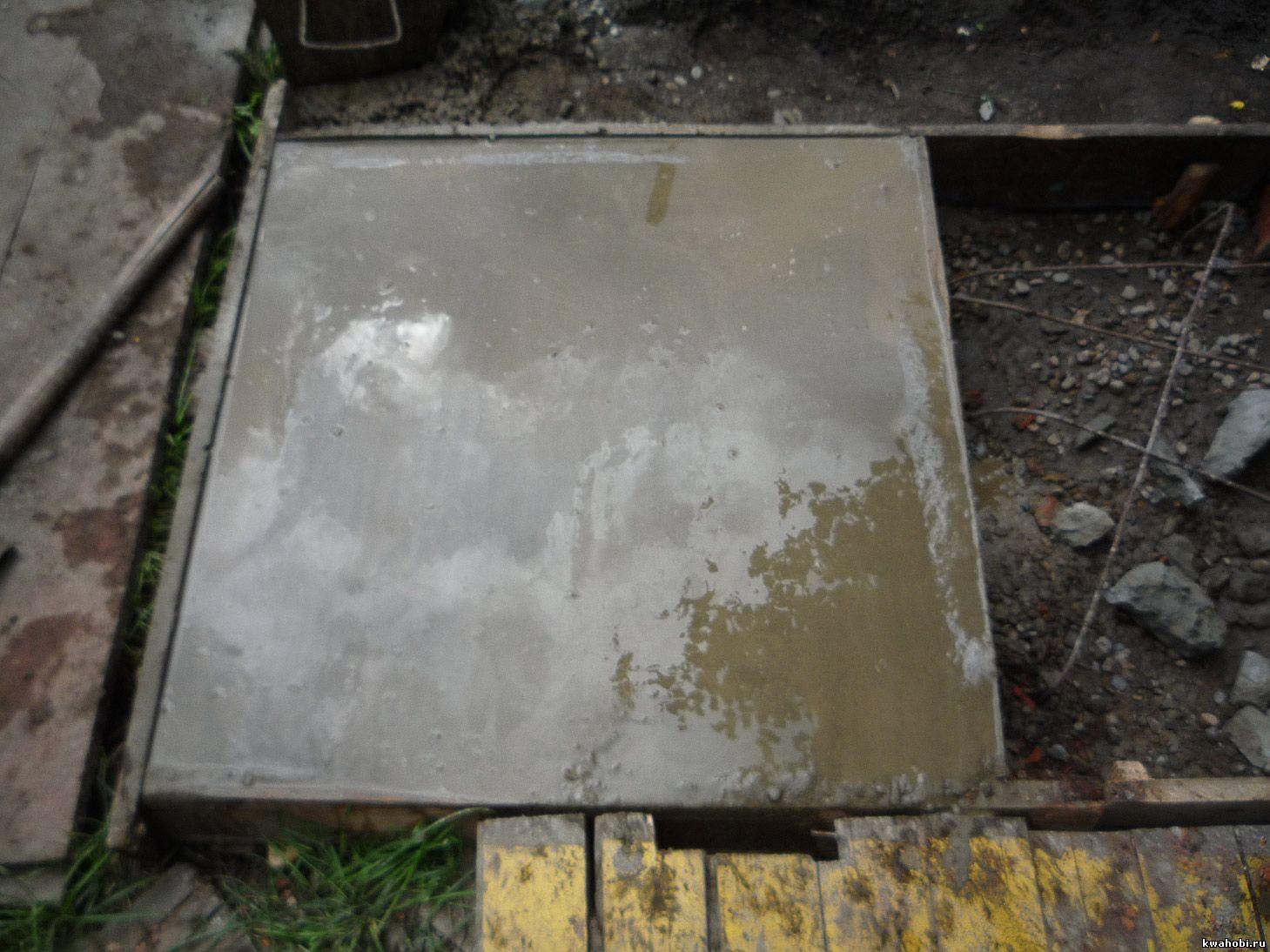 первая часть бетонного фундамента под печь-коптильню