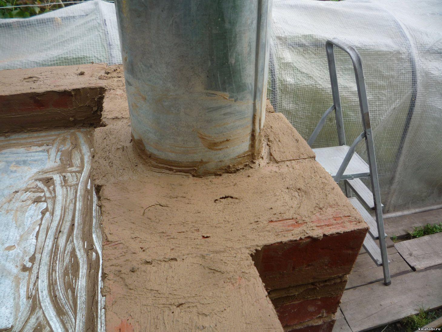 уличная печь с мангалом и коптильней из кирпича самому узел установки вытяжной трубы