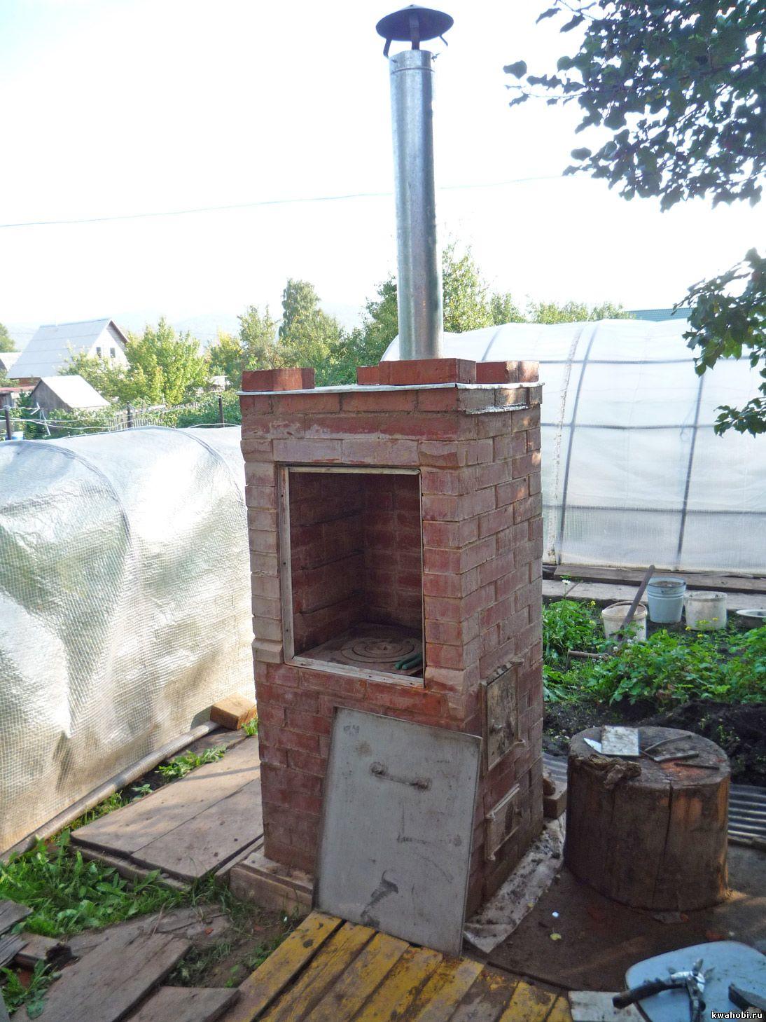 уличная печь с мангалом и коптильней из кирпича самому