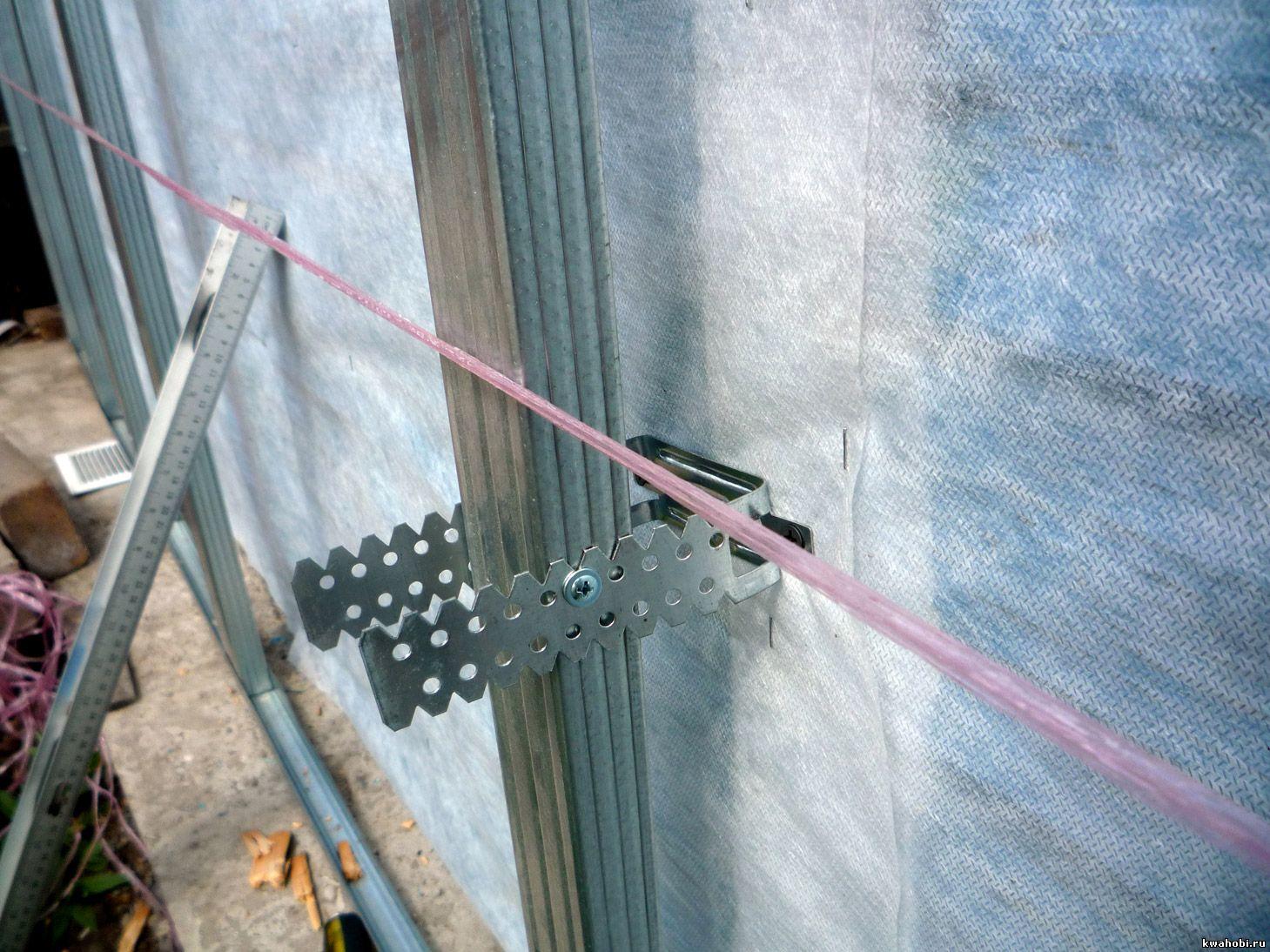 выравнивание металлического каркаса по вертикали и горизонтали