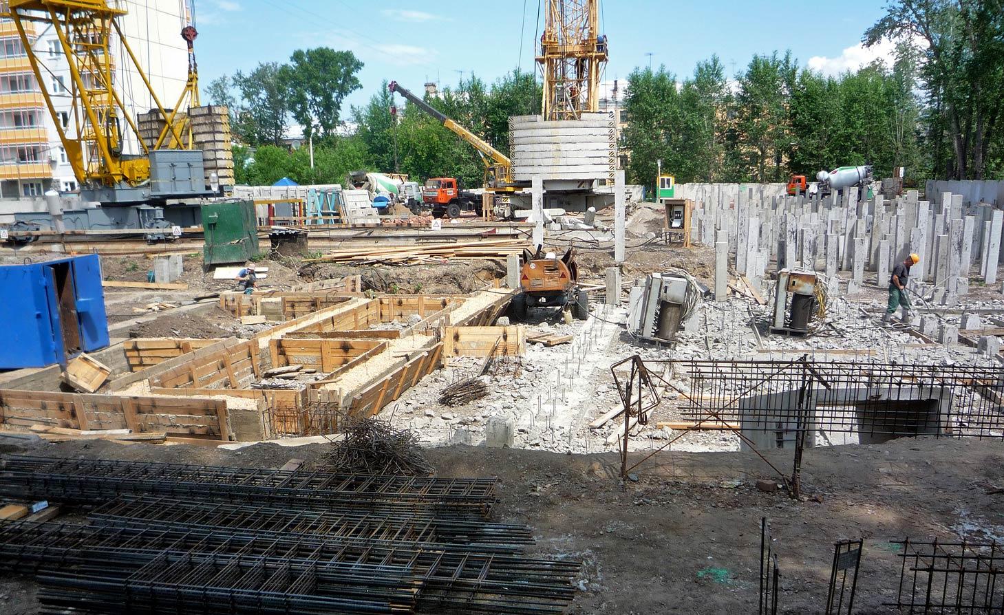 работы по изготовлению фундамента 2-й части дома